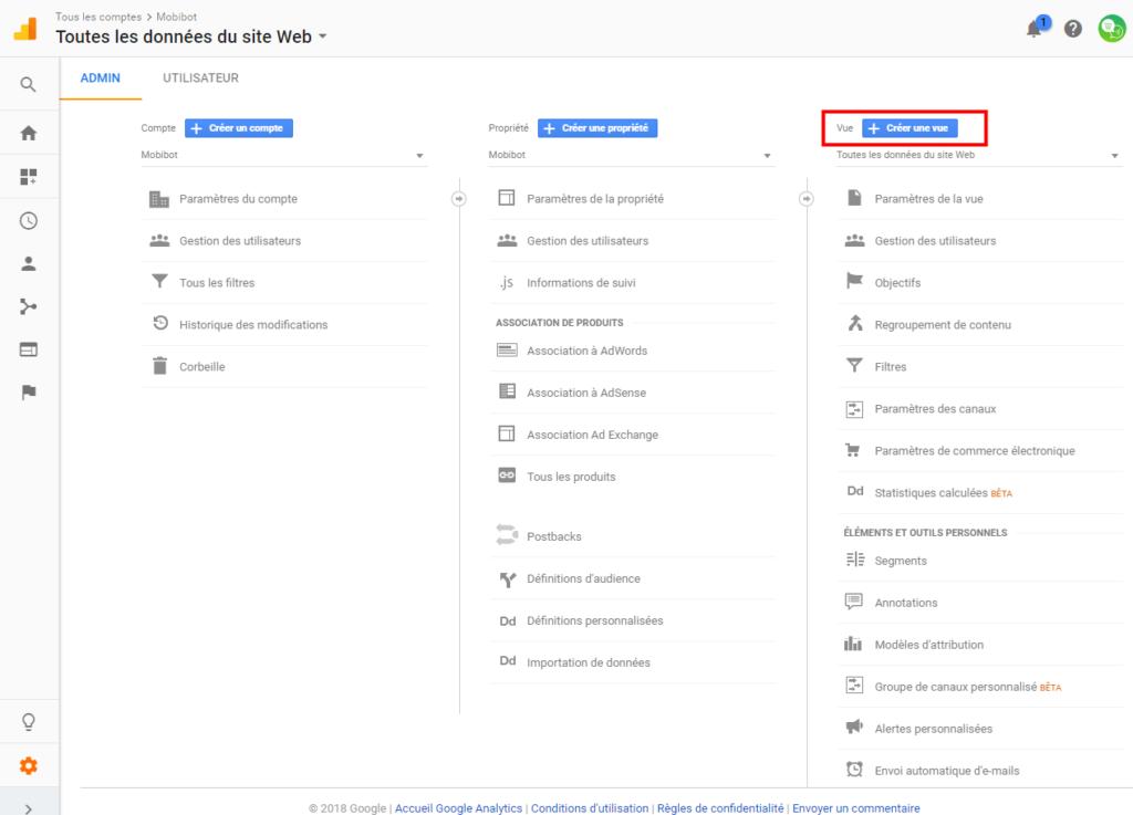 creer une vue dans google analytics